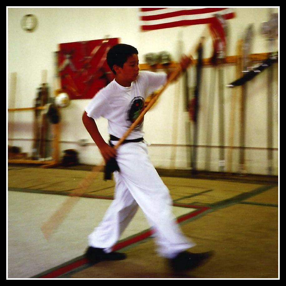 Keybeck performing a Kung Fu routine at age 12.